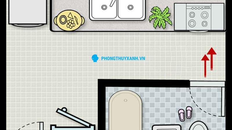 Nhà bếp đối diện nhà vệ sinh - Phong Thủy Xanh