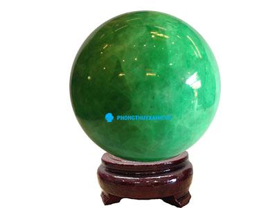 Qủa cầu phong thủy đá dạ quang xanh