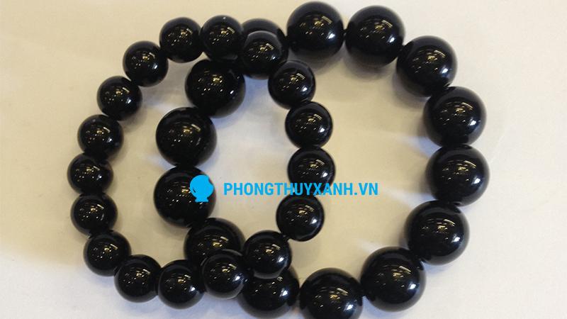Vòng tay phong thủy đá huyền đen - đường kính 10 và 14ly