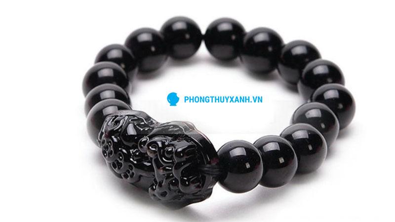 Vòng tay phong thủy đá huyền đen tỳ hưu - đường kính 14ly cho nam