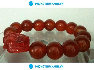 Vòng tay phong thủy đá mã não đỏ tỳ hưu 1