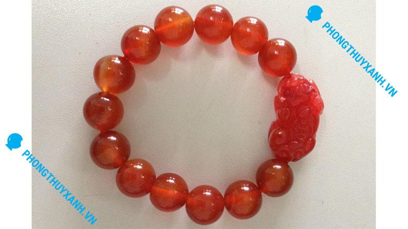 Vòng tay phong thủy đá mã não đỏ tỳ hưu - đường kính 14ly