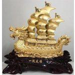 Thuyền buồm phong thủy mạ vàng loại lớn 1