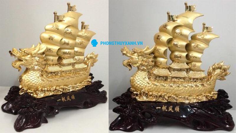 Thuyền buồm phong thủ mạ vàng - Kích thước trung
