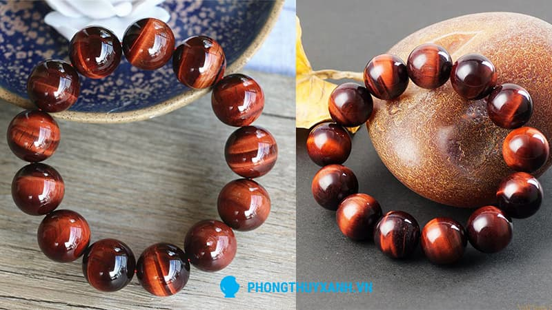 Vòng tay phong thuỷ mắt hổ đỏ 14ly, hạt lớn phù hợp cho nam - Phong Thuỷ Xanh