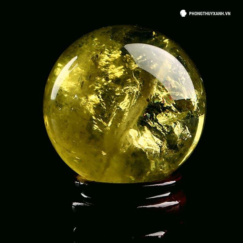 Qủa cầu thạch anh vàng đường kính 100mm - Phong Thuỷ Xanh