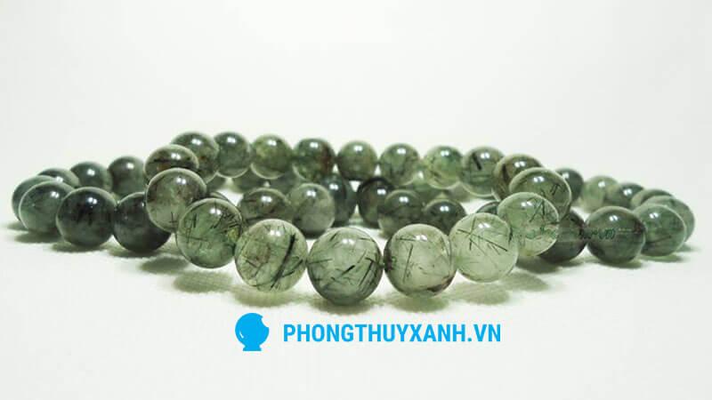 Vòng tay phong thủy đá thạch anh tóc xanh - 10ly và 12ly