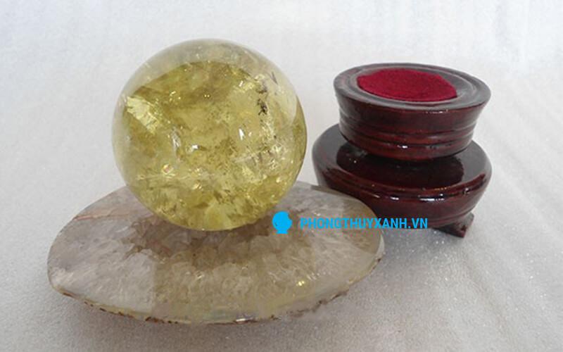 Qủa cầu đá thạch anh vàng - đường kính 100mm (tương đương 1.3kg)