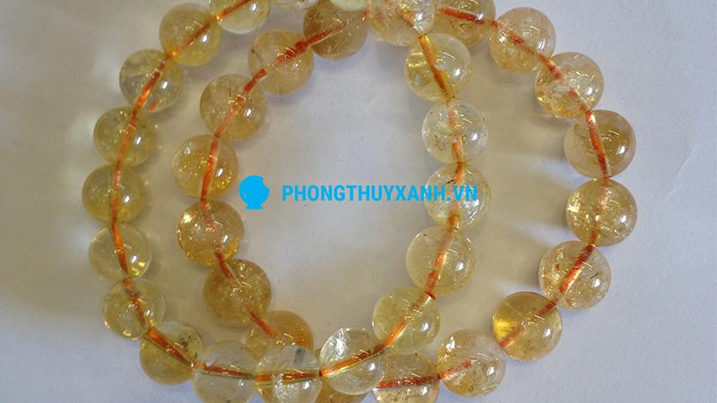 Vòng tay phong thủy đá thạch anh vàng - đường kính 14ly