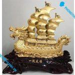 Thuyền buồm phong thủy mạ vàng loại trung