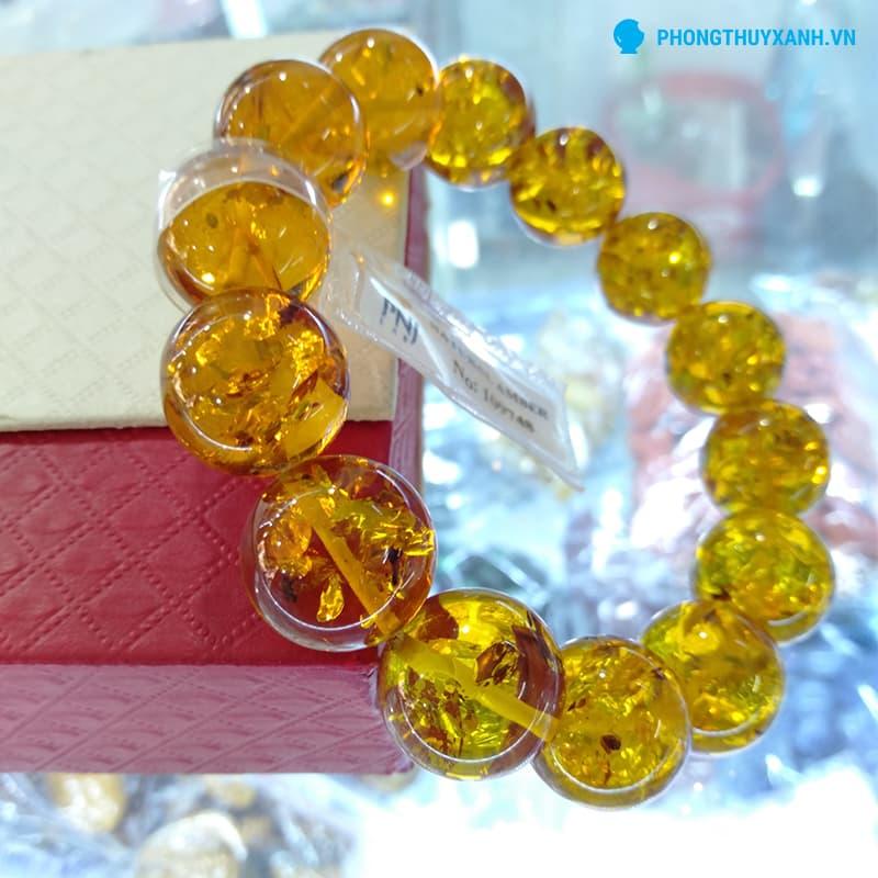 Vòng tay hổ phách tự nhiên Myanmar 14ly, màu vàng sáng, thích hợp với nam - Phong Thuỷ Xanh