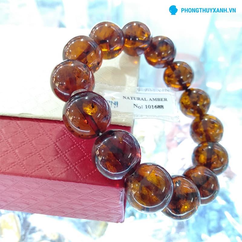 Vòng tay hổ phách tự nhiên Myanmar 14ly, màu nâu sậm (Loại này cực hiếm), thích hợp cho nam - Phong Thuỷ Xanh